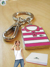 03dc60b66a3f87 New Authentic LACOSTE Enamel KEYRING KEY FOB Charm Polo Shirt Pink