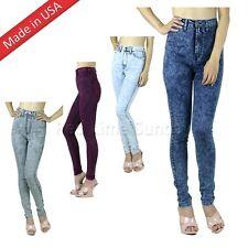 Classic Acid Mineral Wash High Waist Rise Skinny Denim Jeans Pants Regular Plus