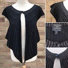 Kate Moss Topshop Cardigan UK 10 Black Art Deco Vintage Style Wool Blend Bolero