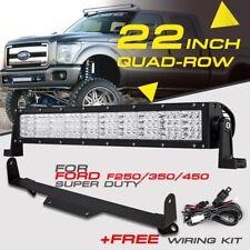"22"" 1440W QUAD-ROW CREE LED Light Bar Bumper Mount Bracket For Ford F250/350/450"