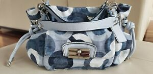 Vintage Coach Op Art Hobo Kristin Bag 14750 Blue Leather and Canvas