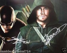 """Stephen Amell Green Arrow & Grant Gustin Flash 8x10"""" reprint Signed Photo #1 RP"""