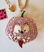 NEW! Betsey Johnson Rhinestone Enamel Pumpkin Necklace Pendant