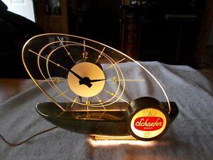Vintage SCHAEFER BEER SAILBOAT CLOCK #615 Lighted ATOMIC ERA  Mid Century Modern