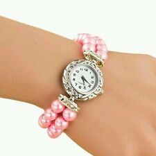 Pink Case Pearl Elastic Band Women Watch Leather Band Analog Quartz Dial Wrist