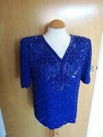 Ladies Top Size 10 Blue Silk VTG Beaded Party Evening Cruise