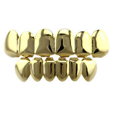 1 Set Gold Plated Hip Hop Teeth Grillz Top & Bottom Grill Teeth Grills HOT