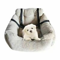 FOUR SEASONS Pet Dog Cat Bed Car Seat Carrier Booster Auto Travel Safety (KHAKI)