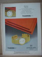 1985 Tourneau Wrist Watch Fidelio Collection Raymond Weil Vintage Print Ad 177
