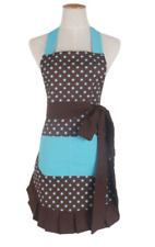 New listing Woman's Hostess Gift, Cooking or Baking Apron, Polka Dot Design, Teal/brown