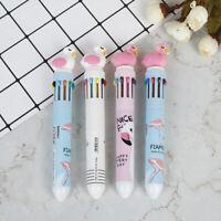 1pc flamingo pen multicolor Ballpoint pen 10 colors cartoon cute writing  JF