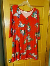 Bobbie Brooks Woman's Soft n' Cozy Dress - Red with Floral Print - Plus Size: 2X