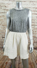 Rachel Roy Sleeveless Dress Womens Size Small Gray Chambray with Ivory Bottom