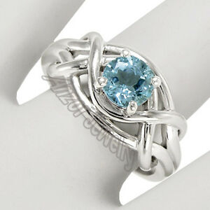 Solid 10k White Gold Genuine Aquamarine Ring