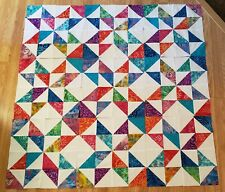 "Lot of 9- 17 3/4"" Batik & White Eight Point Star Quilt Blocks, Squares, Tops