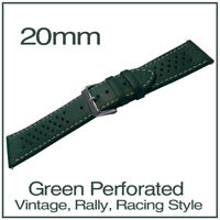 • 20mm Green Perforated Luxury Leather Vintage Racing Rally Style Watch Strap •
