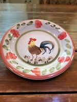 """Tabletops Unlimited Gallery FLORA ROOSTER Hand Painted DESSERT SALAD PLATE 7.5"""""""