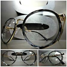 Men Women CLASSIC VINTAGE Style Clear Lens EYE GLASSES Round Gold Tortoise Frame
