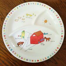 Vintage Anacapa Melamine Child's Divided Plate Farm Barn Animals Plastic 900-2