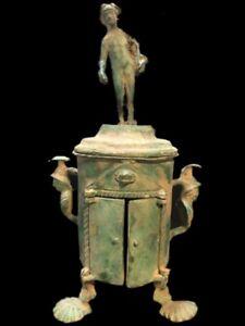 RARE ANCIENT ROMAN BRONZE PERIOD CISTA- 325 - 300 BC (1)
