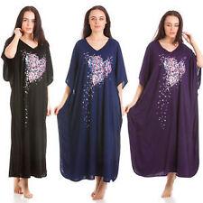 Ladies Nightie Heart Shape Maxi Kaftan Soft Nightdress Full Length One Size Black