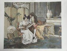 TYPOGRAVURE 1898 D APRES TABLEAU DE J. DOMENECH MUSIQUE LA LECON DE MANDOLINE