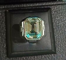 925 Sterling Silver Emerald Cut Natural Green Amethyst 12x16 mm Men Ring  MT3