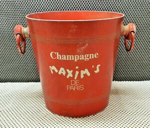 Antik Behälter Champagne aus Aluminium Emailliert Rot Maxim's De Paris Jahre 70