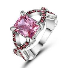 Pink Sapphire CZ Cross Wedding Ring Men/Women's 10KT White Gold Filled Size 8