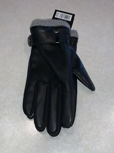 Isotoner Signature Mens Faux Black Leather Gray Cuff SmartTouch Winter Gloves XL