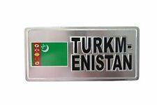 Turkmenistan Country Flag-Silver Licensed Sticker Flag Plate.Size: 6 X 3 Inch