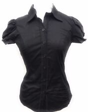 Women's Puff over lay Short Sleeve Button-Down Princess Cut Stretch Shirt