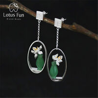 Unique 925 Silver Natural Gemstone Lotus Flower vase Drop Earrings for Women