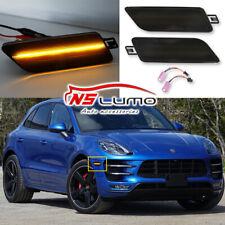 LED Side Marker Bumper Lights For Porsche Macan 2015-2018 Smoked Lens Amber 2Pcs