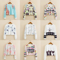 New Women's Casual Long Sleeve Crochet Pullover Loose Tops Ladies T-Shirt Blouse