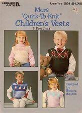 Leisure Arts 591 More Quick Knit Children's Vests Argyle Sailboat Patterns 1988