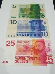 Netherlands 5, 10 And 25 Gulden Notes. 1973, 68 And 71.