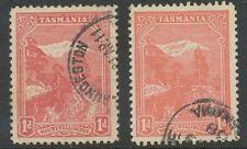 TASMANIA 1899 Mount Wellington 1 D carmine 2 superb used stamps different shades
