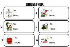 Charlie Brown Snoopy TO ~ FROM Gift Tags Christmas Present Name Stickers Labels