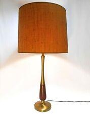 MID-20TH C AMERICAN VINT BRASS/TAPERED WALNUT ELEC TABLE LAMP W/ORIG HARP/FINIAL
