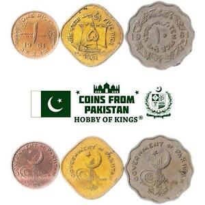 SET OF 3 COINS FROM PAKISTAN: 1, 5, 10 PICE. 1961
