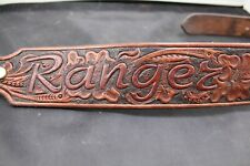 """Handcarved Western Leather Dog Collar with collar mounted ID Tag 1 7/8"""" wide"""