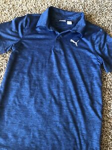 Puma Golf  Boys Polo  Shirt Size Medium Dri-fit Blue