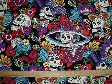 Cotton Fabric Alexander Henry Dia De La Catrina on Black Mexican Skulls  BTY