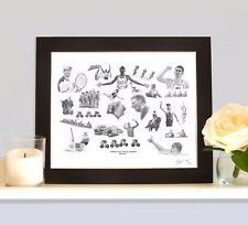 TEAM GB Rio Olympics Gold Medal Winners Art Print Picture MOUNTED Present Gift