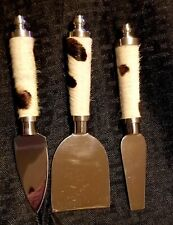 New listing New Thirstystone Western Cowhide Hair On Metal Cheese Spreaders Set Cowboy Cowgi