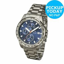 Accurist Men's Grey Titanium Blue Dial Chronograph Bracelet Analogue Watch