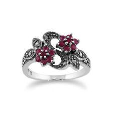 Anillos de joyería con gemas de plata de ley rubí