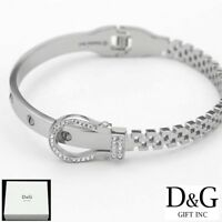 "DG Women's 6.5"" Stainless Steel,Belt buckle bracelet,CZ Bangle Eternity**Box"