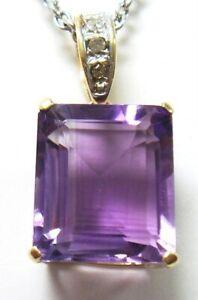 SYJEWELLERY NICE 9CT SOLID YELLOW GOLD NATURAL AMETHYST & DIAMOND PENDANT P841